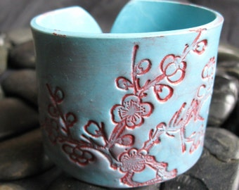 SALE Cherry Blossom Cuff Bracelet Turquoise Aqua Blue, Handmade cuff by theshagbag on Etsy