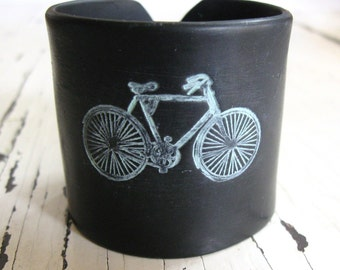 SALE Black Bicycle Cuff bracelet, Handmade Jewelry by theshagbag on Etsy