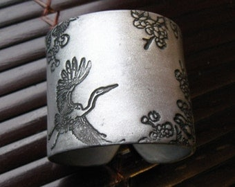 CIJ SALE Soaring Asian Crane and Floral Silver Cuff Bracelet, Handmade Jewelry by theshagbag on Etsy