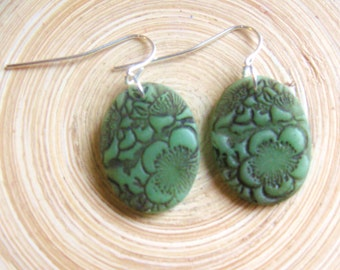 SALE Jade earrings Asian floral minis, handmade jewelry by theshagbag on Etsy