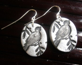 SALE Silver earrings Asian songbird minis, handmade jewelry by theshagbag on Etsy