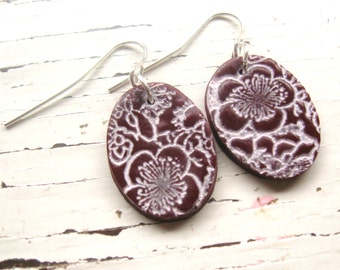 SALE Crimson earrings Asian floral minis, handmade jewelry by theshagbag on Etsy