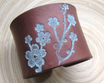 SALE SALE Cuff Bracelet Dark Copper Bronze Style, Asian Floral Blossoms Design, Handmade Cuff Bracelets by theshagbag on Etsy