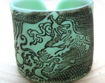 SALE Dragon Cuff Translucent Jade Green Bracelet, Handmade by theshagbag on Etsy
