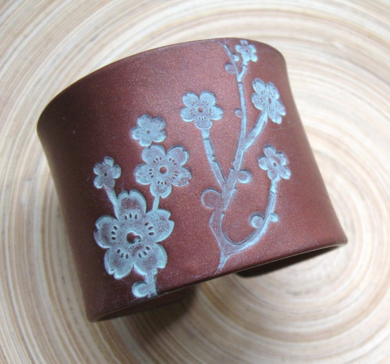 SALE Cuff Bracelet Dark Copper Bronze Style, Asian Floral Blossoms Design, Handmade Cuff Bracelets by theshagbag on Etsy
