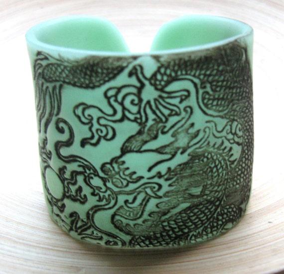 SALE Dragon Cuff Translucent Jade Green Bracelet, Handmade by theshagbag on Etsy