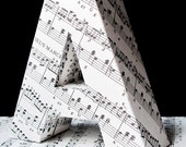 Music- any letter of the alphabet made from vintage sheet music