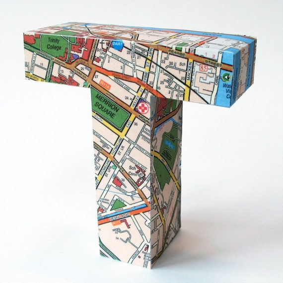 T Junction - 3D letter T from repurposed Dubln street map