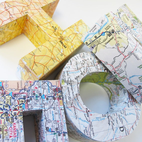 Medium 3D map letter of anywhere in the world