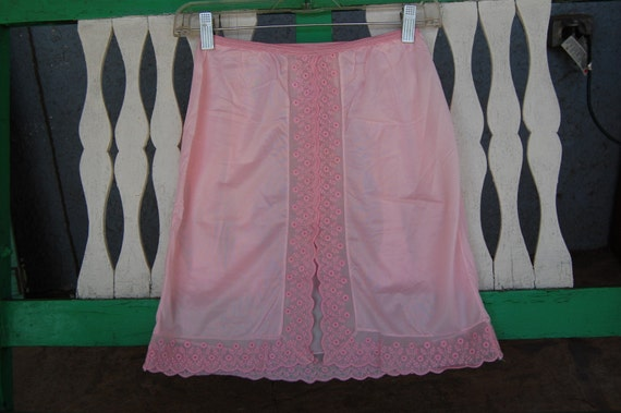 Vintage Pink Half Slip with Center Slit and Pretty Embroidery