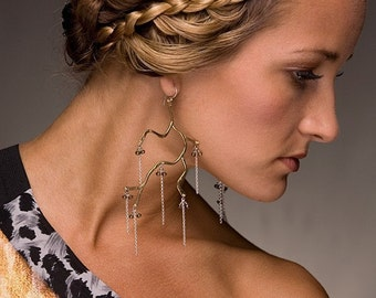 Branch earrings with streams of silver in Copper, Bronze or Sterling