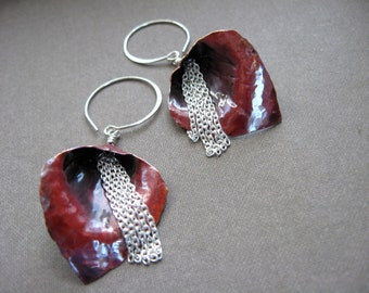 Small Waterfall Lily Earrings in Copper - E178P Fire Patina