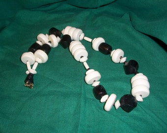 Vintage 1980s Necklace Made of Wood Beads - 30 inches