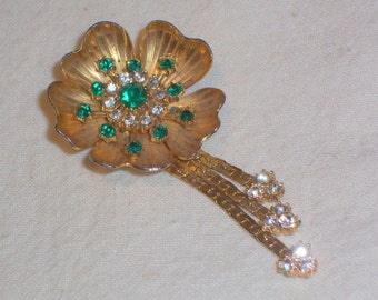 Vintage Brooch or Pin with with Green and Crystal Pronged Stones