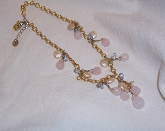 Handmade Necklace of Rose Quartz and Freshwater Coin Pearls