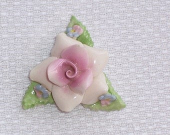 Vintage China Flower Brooch or Pin