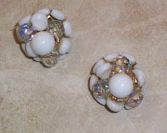 Vintage Clip On Earrings with Aurora Borealis and Glass Beads