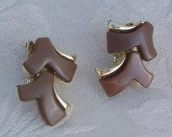Vintage Brown Earrings - Clip Ons