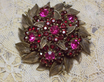 Vintage Brooch with Garnet Colored Rhinestones