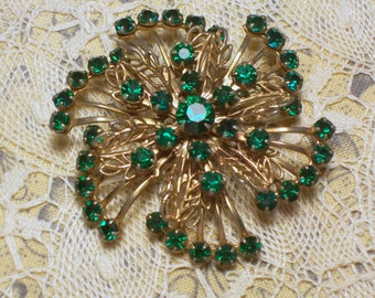 Vintage Brooch with Emerald Green Rhinestones