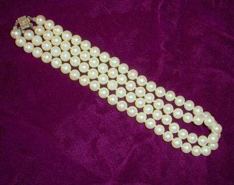 Vintage 8mm Pearl Double Strand Necklace with Sterling Clasp