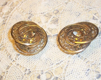 Vintage Gold Filled Filigree Clip On Earrings