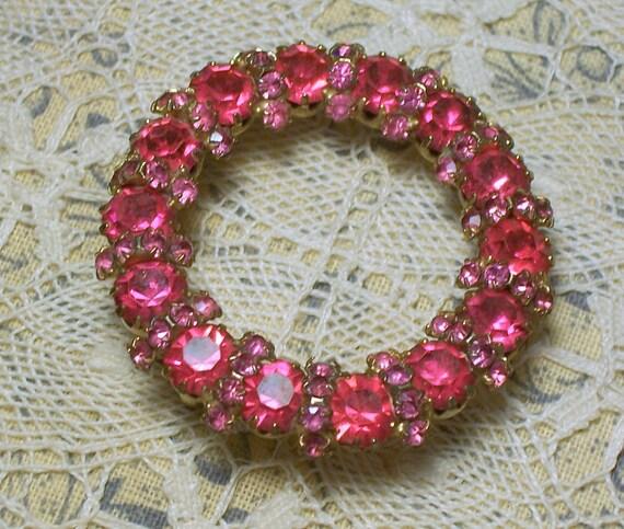 Vintage Brooch with Pink Rhinestones