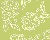 Sanibel Floral Outline in Green by Henry Glass - 1 Yard