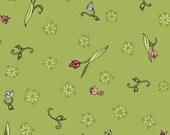 Elizabeth's Letters Tulips in Green by Jill Finley for Henry Glass - 1 Yard
