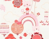 Monkey's Bizness Kitty Garden in Red by Alexander Henry - 1 Yard