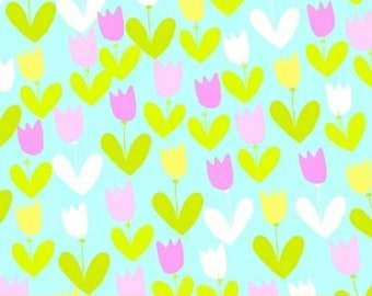 Sale Scribbles Tulips with Love in Blue by Foliage for Windham Fabrics - 1 Yard