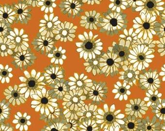 Ashleigh's Garden Daisies in Orange by Studio E - 1 Yard