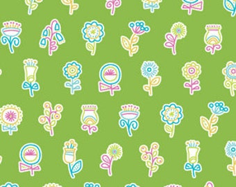 Summersault Flowerpop in Grass by Erin McMorris for Free Spirit - 1 Yard