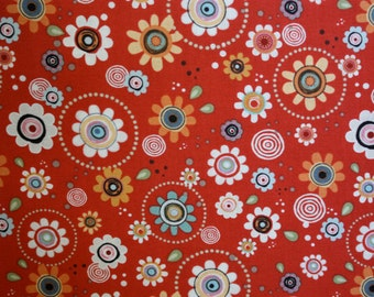 Long Live Vintage Groove Flowers in Red by Adornit - 1 Yard