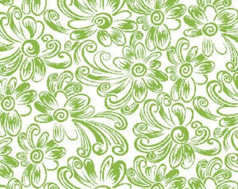 Daisy Dance Feedsack Daisy in Green by Kari Ramsay for Henry Glass - 1 Yard