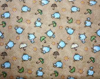 Starlight Flannel Lambs and Umbrellas in Tan by Blank Quilting - 1 Yard