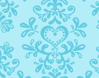 Amelie Heart Crest in Blue  by Chelsea Andersen for Henry Glass - 1 Yard