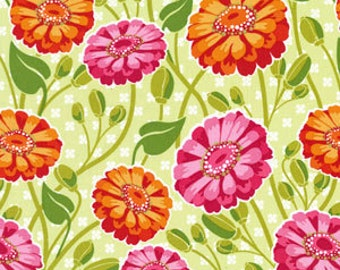 Lush Zinnia Garden in Creamsicle by Patty Young for Michael Miller - 1 Yard