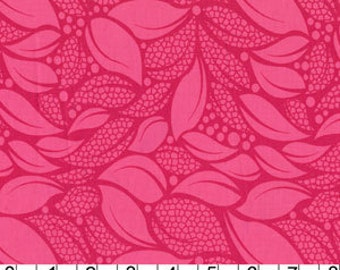 Lush Tossed Leaves in Raspberry by Patty Young for Michael Miller - 1 Yard