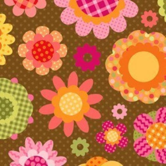 Fun Flowers Toss in Brown by Lakehouse Dry Goods - 6 2/3 yards reserved for bbas