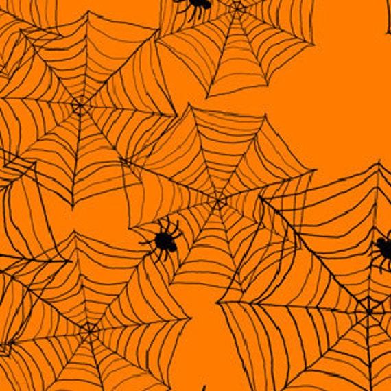 Delightfully Frightful Spider Webs in Orange by Debbie Taylor-Kerman for Henry Glass - 1 Yard