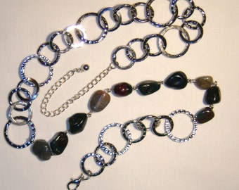 STONE AND CHAIN NECKLACE, natural polished stone, silver color circle chain, greens, browns, grays, reds, browns, etc, etc