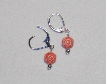 RED FLOWER POWER DANGLE EARRINGS, flower beads, delicate earrings