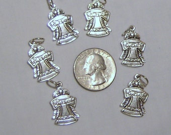 ANGEL CHARMS, antiqued silver angel charms, six pcs.