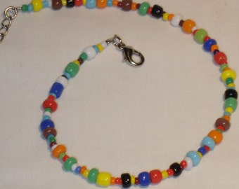 Anklet in bright colors, beaded, multicolor