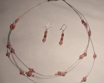 Pink and pretty flower pink glass beads, beaded, three strand, magnetic clasp