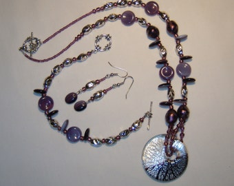 JEWELRY SET in shade of purple, lavender, black and silver, pendant necklace, bracelet, dangle earrings, glass beads, unusual and unique