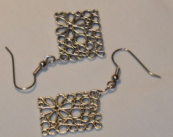 EARRINGS, flowers, silver color charms with flowers, dangle earrings in silver tone