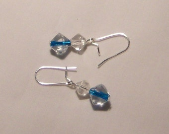 EARRINGS, crystal clear with a hint of blue, dangle earrings