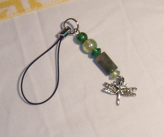 Dragon Fly cell phone charm, purse charm, zipper pull, lanyard, beaded